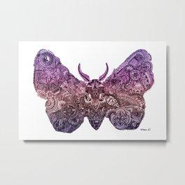 'Moth' Pink Colour Metal Print
