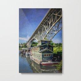 Houseboat and Aurora Bridge Metal Print