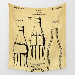 Bottle Support Patent Drawing From 1937 Wall Tapestry
