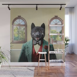 Portrait of Arnie Akita Wall Mural