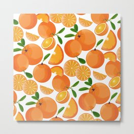 Orange Fruit And Slices Pattern Metal Print