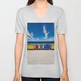 The Colorful Houses on the Beach photograph Unisex V-Neck