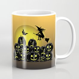 Pumpkins and witch in front of a full moon Coffee Mug