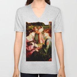 "Dante Gabriel Rossetti ""The Bower Meadow"" Unisex V-Neck"