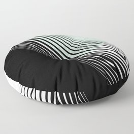 Rising Sun Minimal Japanese Abstract White Black Mint Green Floor Pillow