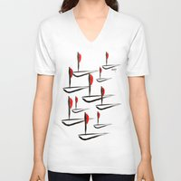 boats V-neck T-shirts featuring Boats by Elly F