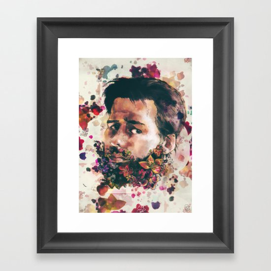 a beard of flowers Framed Art Print
