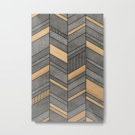 Abstract Chevron Pattern - Concrete and Wood Metal Print