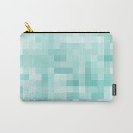 geometric square pixel pattern abstract in green Carry-All Pouch