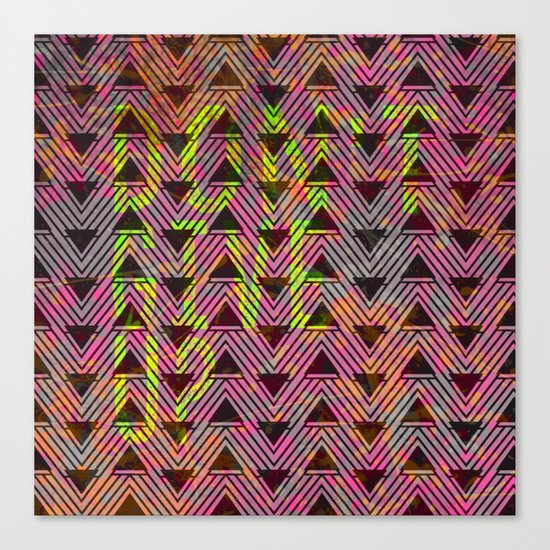 Don't Give Up Quote with Geometric Triangle Pattern Canvas Print