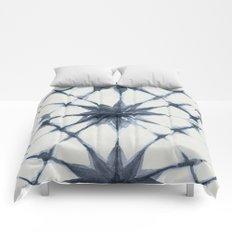 Shibori Starburst Indigo Blue on Lunar Gray Comforters