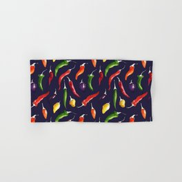 Ink and watercolor hot chillies pattern on navy background Hand & Bath Towel