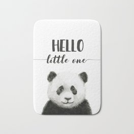 Panda Art Print Baby Animals Hello Little One Nursery Decor Bath Mat