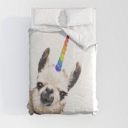 Sneaky Unicorn Llama White Comforters