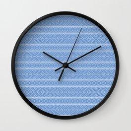 Cornflower Blue Geometric Abstract Pattern Wall Clock