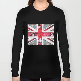 God save the Queen   Elegant girly red floral & lace Union Jack Long Sleeve T-shirt