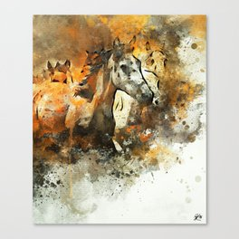 Watercolor Galloping Horses On Raw Canvas | Splatter Painting Canvas Print