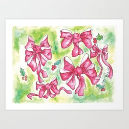 Red Bows and Holly in Watercolor Art Print