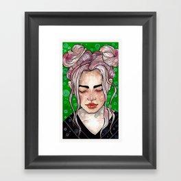 Girl in green Framed Art Print
