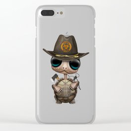 Baby Turtle Zombie Hunter Clear iPhone Case