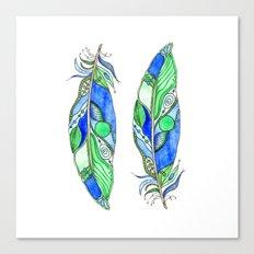 Bohemian Spirit Feathers - Blue & Green Canvas Print