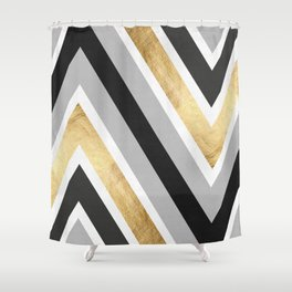 Gray and gold composition IV Shower Curtain