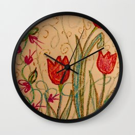 Tulips spring energy Wall Clock