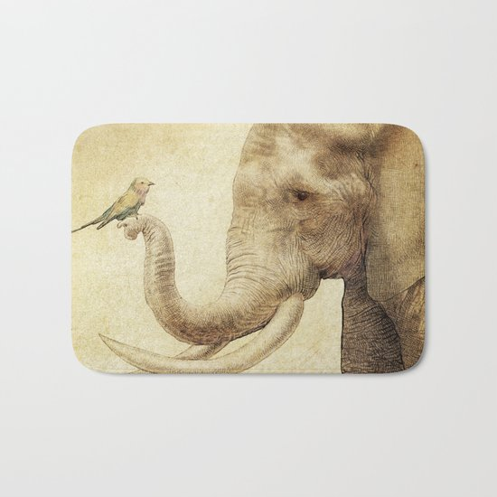 A New Friend (sepia drawing) Bath Mat