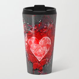 Abstract Love Letter red Grey Crumpled Paper Travel Mug