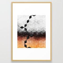 Ombre Concrete Cubes Framed Art Print