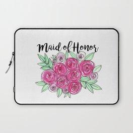 Maid of Honor Wedding Pink Roses Watercolor Laptop Sleeve