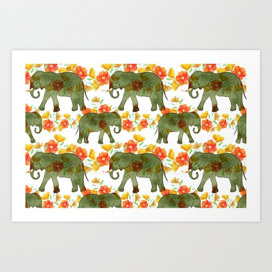 Wading Elephants Art Print