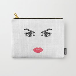 Printable Art,Makeup Face,Makeup Illustration,Lips Print,Eyelashes Print,Bathroom Decor,For Her Carry-All Pouch