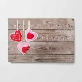I - Clothesline with Valentine's Day hearts decorations on a rustic background Metal Print