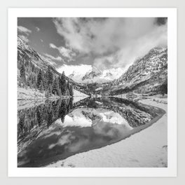 Natures Divine Canvas - Maroon Bells Aspen Colorado 1x1 Square BW Art Print