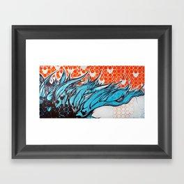 Blue hair dreams Framed Art Print