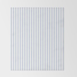 Alice Blue Pinstripe on White Throw Blanket