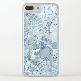 Abstract Faded Blue Grey Bubbles Clear iPhone Case