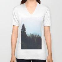 washington V-neck T-shirts featuring Washington Woodlands  by Leah Flores