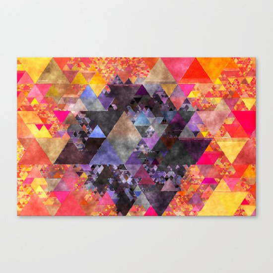 Fire red blue yellow  triangle pattern - Watercolor illustration Canvas Print