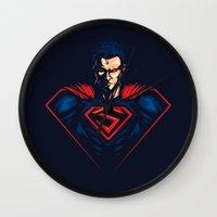 man of steel Wall Clocks featuring Man of Steel by Steven Toang