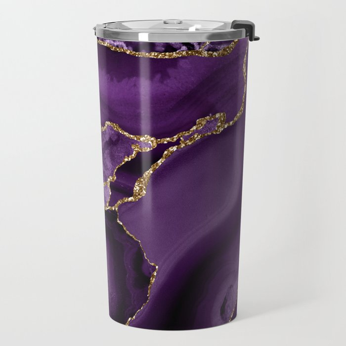 Glamour Purple Bohemian Watercolor Marble With Glitter Veins Travel Mug
