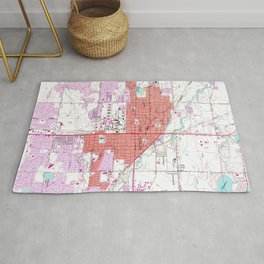 Vintage Map of Fort Collins Colorado (1960) Rug