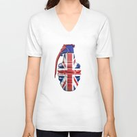 british flag V-neck T-shirts featuring British grenade by GrandeDuc