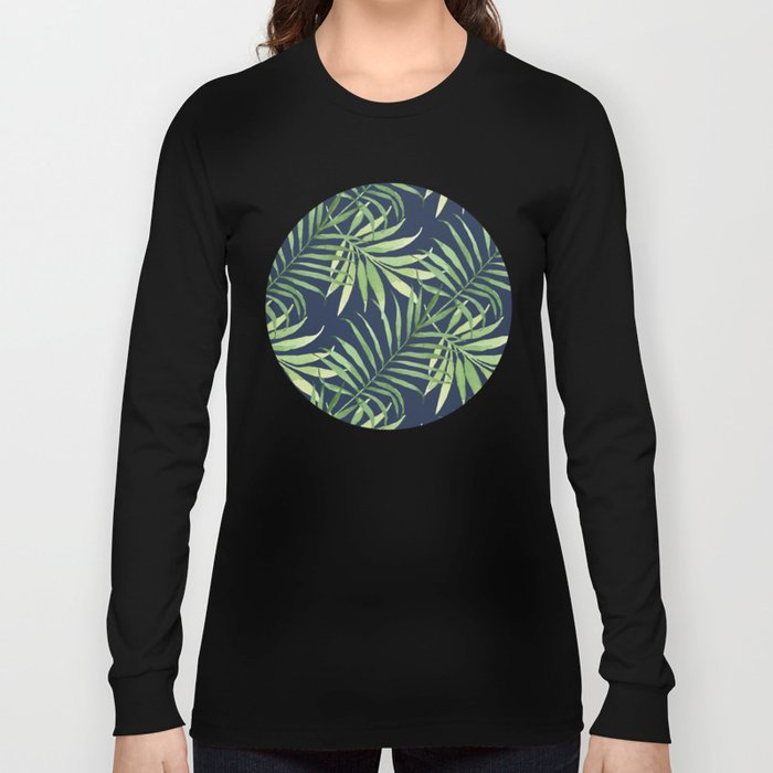 Tropical Branches on Dark Pattern 05 Long Sleeve T-shirt