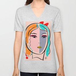 Pastel Pop Art Girl Portrait Minimalist Unisex V-Neck