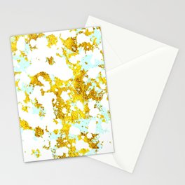 Elegant Marble and Gold Textures With Blue Splashes Stationery Cards