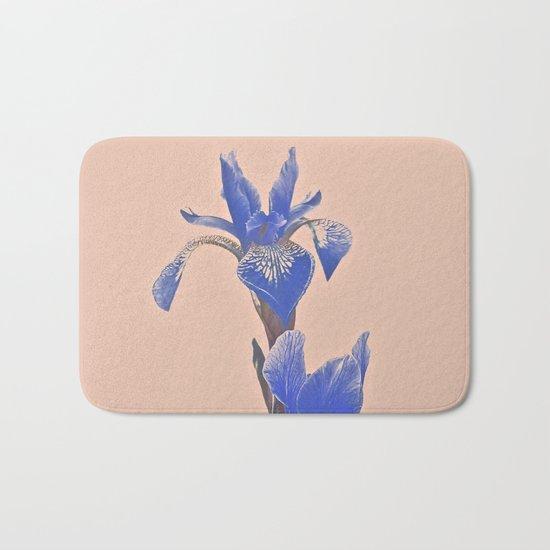 Blue Iris On Pink Bath Mat
