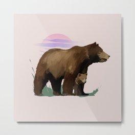 Mother Bear & Cub Metal Print