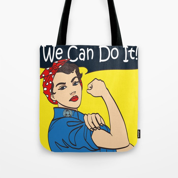 a91bb042e33 We Can Do It. Cool vector iconic woman s fist symbol of female power and  industry. cartoon woman wit Tote Bag